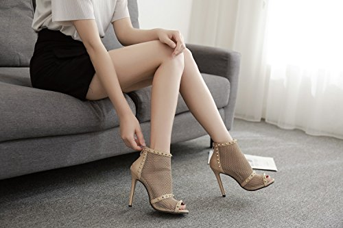 Shoes Evening Wedding B Fall Women's Stiletto Club Sexy amp; for Shoes Party Heel Summer Heels ShoesTulle Rivets qZxxIU