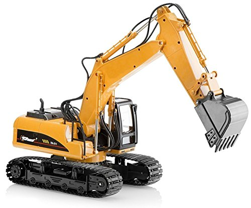 Tractors Toy Model (Top Race Metal Diecast Excavator Construction Truck Toy Tractor, Heavy Metal Excavator Model Free Wheeler Die Cast Construction Toy 1:40 Scale (TR 211D))