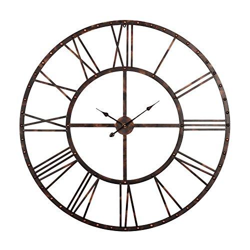 Cheap Utopia Alley Rivet Roman Industrial Oversize Wall Clock, Antique Bronze, 45″ L x 45″ H