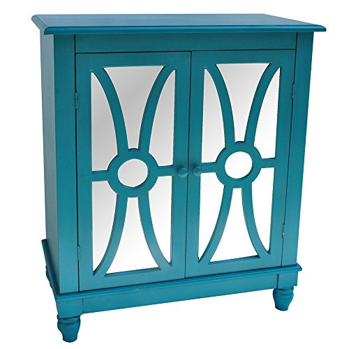Crestview Collection Clairemont Mdf/Wood and Mirror 2 Door Cabinet, Turquoise
