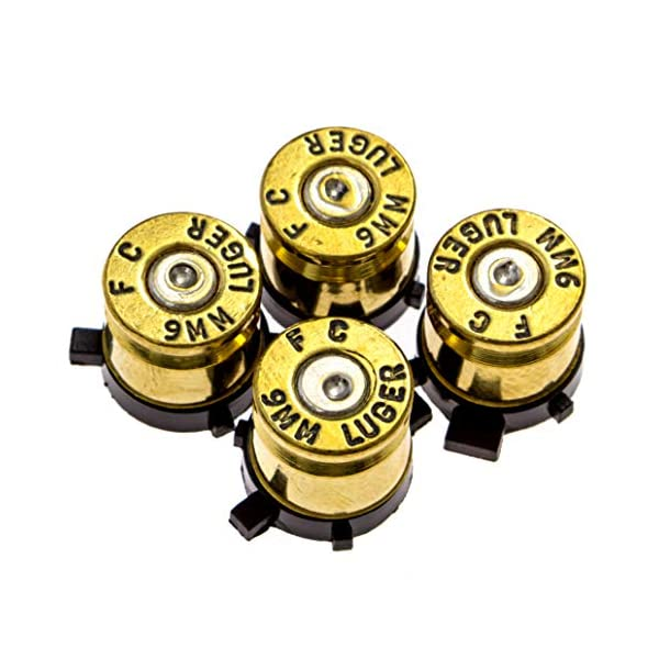 PS4 Bullet Buttons Gold Silver Made Using Real Once Fired 9MM Bullet Casings - Designed for PS4 PS3 and PS2 Controllers 1