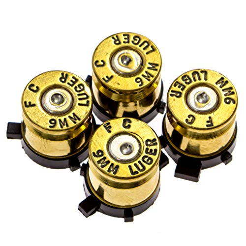 (PS4 Bullet Buttons Gold Silver Made Using Real Once Fired 9MM Bullet Casings - Designed for PS4 PS3 and PS2 Controllers)