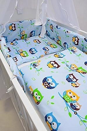 Best For Kids Komplettset Babybett Patrick 70x140 Cm Mit Matratze 10 Cm Und Bettwäsche Inkl Decke Und Kissen 6 Design Eulen Blau