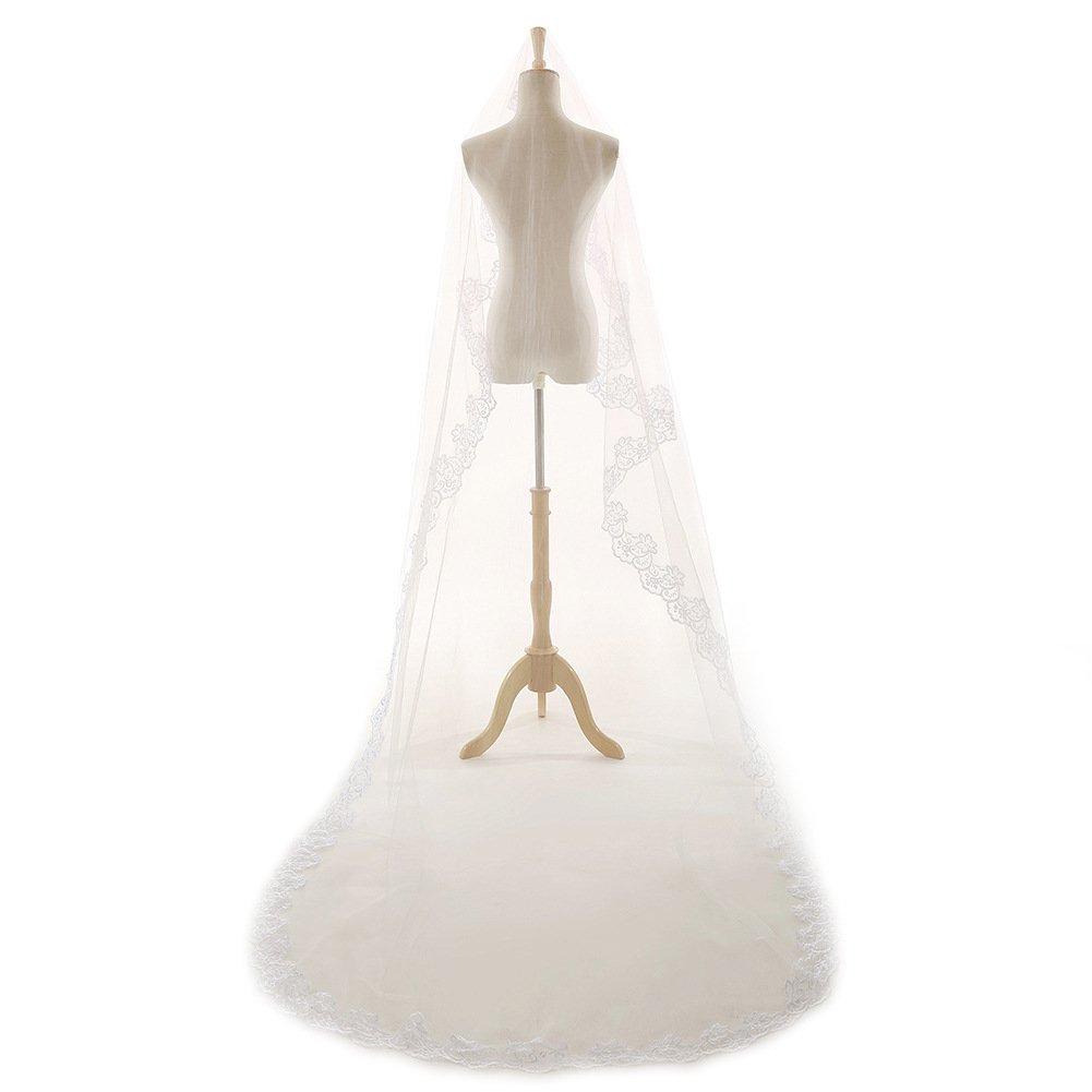 JoJoBridal Womens Tulle Lace Applique Cathedral Bridal Wedding Veils Veil03