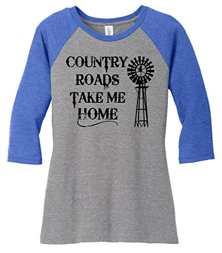 Comical Shirt Ladies Country Roads Take Me Home Royal Frost/Grey Frost - Womens Country Road