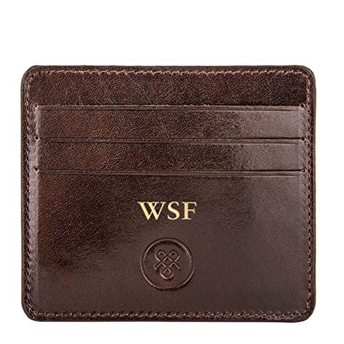 c14d172d919e Maxwell Scott® Personalised Luxury Brown Leather Credit Card Holder - One  Size (The Marco)