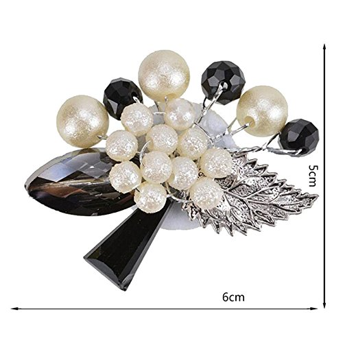 Modogirl Handmade Exaggeration Black Bead Brooch Pin Big Crystal Stone Leaf with Simulated Pearl Flower Corsage