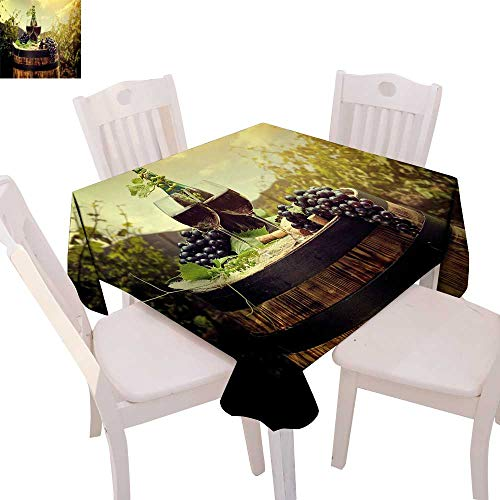 cobeDecor Wine Patterned Tablecloth Scenic Tuscany Landscape with Barrel Couple of Glasses and Ripe Grapes Growth Dust-Proof Tablecloth 36