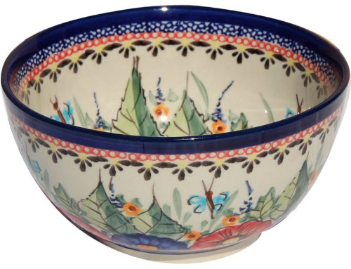 Polish Pottery Ice Cream/Cereal Bowl Decoration Inside From Zaklady Ceramiczne Boleslawiec #971/1-149 Art Unikat Signature Pattern, Height: 2.8