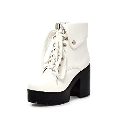 Women's High-Heels Round Closed Toe Pu Low-Top Lace-Up Solid Boots White-Bandage 37