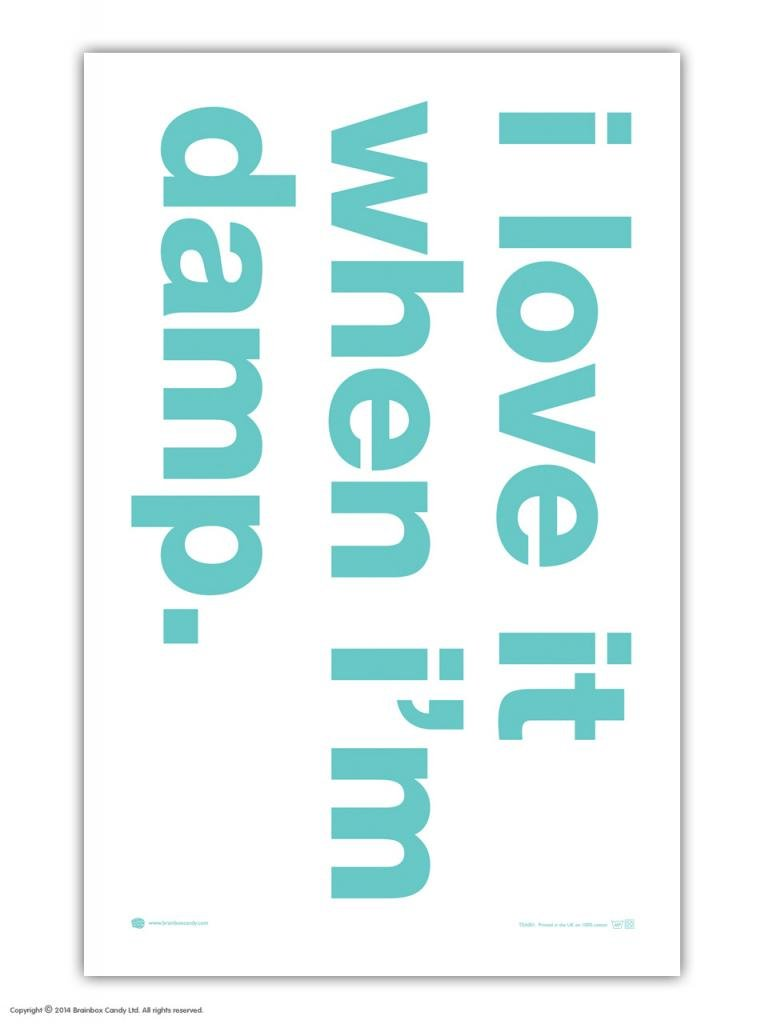 Brainbox Candy Funny 'I Love It When I'm Damp' Tea Towel - 100% Cotton (51x79cm)