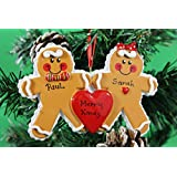 Personalized Christmas Tree Decoration Ornaments Gingerbread Family - For the family of 2 members- Get your desired names on the items- A perfect Christmas gift by Frame Company