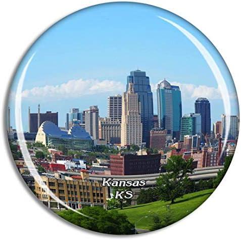 カンザスシティー米国冷蔵庫マグネット3Dクリスタルガラス観光都市旅行お土産コレクションギフト強い冷蔵庫ステッカー