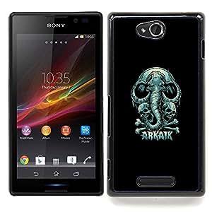 Arkaik - Skull & Elephant Caja protectora de pl¨¢stico duro Dise?ado King Case For Sony Xperia C S39h C2305