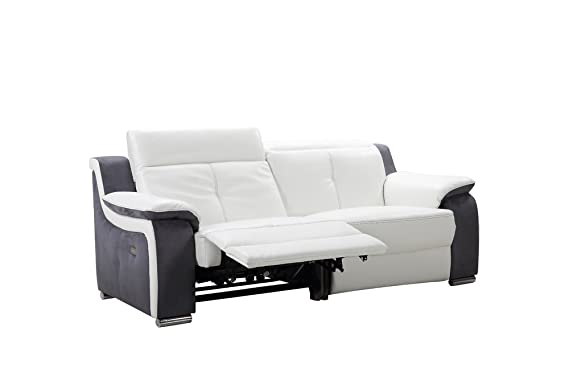 Moloo sofá 3 plazas Relax eléctrico Piel Gris/Blanco City ...
