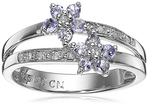Tanzanite Diamond Cluster Ring (Sterling Silver Tanzanite and Diamond Floral Cluster Ring, Size 8)