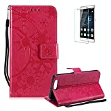 Funyye Strap Leather Cover for Huawei Honor 9,Rose Red Creative Pattern Design Magnetic Flip Folio Soft Silicone PU Leather Protective Case for Huawei Honor 9,Stylish Multi functional Folder Wallet with Stand Credit Card Holder Slots Cover for Huawei Honor 9 + 1 x Free Screen Protector
