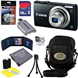 Canon PowerShot A2300 16.0 MP Digital Camera with 5x Digital Image Stabilized Zoom (Black) + NB-11L Battery + 16GB Deluxe Accessory Kit
