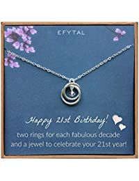 21st Birthday Gifts for Her, Sterling Silver 21 Year Old Necklace Gift for Women, Best Friend or Daughter