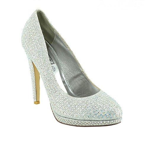 de de Maille la cour bridemaid Paillettes Femme Bal Partie chaussures chaussures chaussures Diamante de chaussures Argent la AwRWCXq