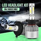 H4 LED Headlight Conversion Kit, Auto Car Led Headlamp Car COB Bulbs, 6000K 9W-36W Cool White 7200LM, All-in-One Error Free Design (H4 (HB2/9003))