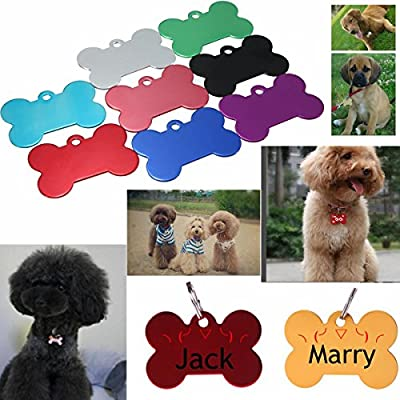 Pet Cat Dog ID Tag Personalized Bone Shape Pet Name ID Tags Collar