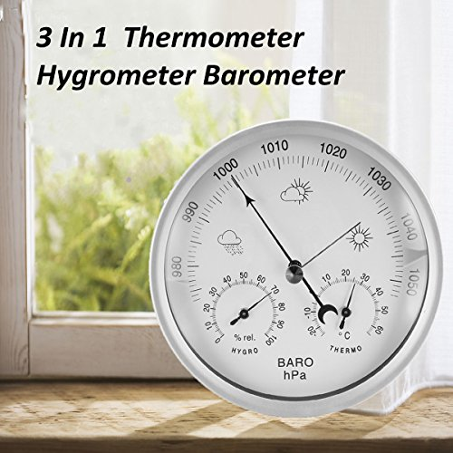 132mm Wall Hanging Portable Temperature Humidity Barometer Weather Meter by Krittapas Intertrade