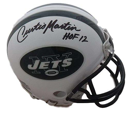 Jets Martin Curtis (Curtis Martin Autographed New York Jets Riddell Mini Helmet HOF 12 JSA)