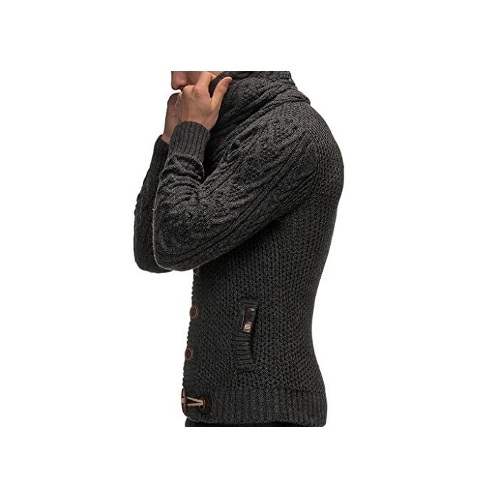 POSIBILIDADES COMBINADAS: La chaqueta de hombre con capucha y cuello de chal se adapta a todas las situaciones de la vida cotidiana (trabajo / negocios, ocio o fiesta) y se puede combinar en diferentes estilos. No importa si usas pantalones vaqueros o pantalones de carga para hombres. También es perfecto con una camiseta de hombre o debajo de un chaleco. Una chaqueta de hombre con capucha fresca, moderna y casual para los días de primavera, otoño, invierno y verano frío. LEIF NELSON: Somos fabricantes y producimos ropa de primera clase para hombre y mujer en todos los colores y tallas posibles. Con nosotros encontrará lo que necesita! Desde suéteres básicos de hombre con escote redondo, suéteres de invierno con cuello en V, sudaderas hasta suéteres de manga larga y suéteres de cuello alto de hombre. 100% Poliacrílico