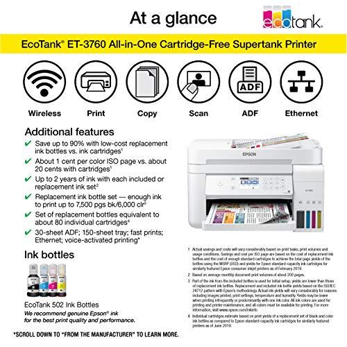 Epson EcoTank ET-3760 Impresora inalámbrica a color todo en uno Supertank sin cartucho con escáner, fotocopiadora y Ethernet, estándar
