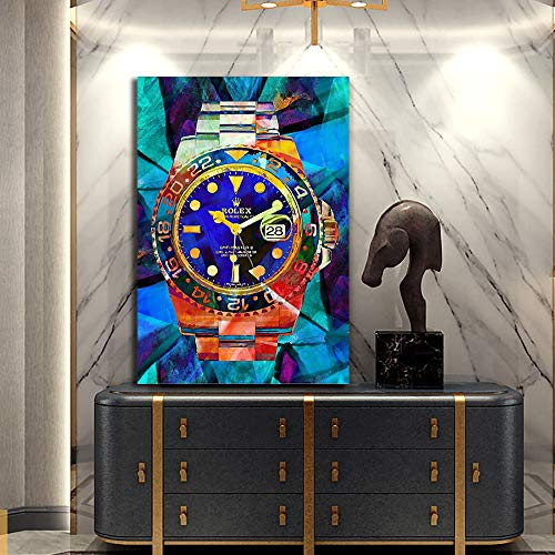 Canvas Print Wall Art,Rolex Watches,Pop Art,Canvas HD Modern Abstract Art Print Poster Office Bedroom Cafe Decoration with Frame (40
