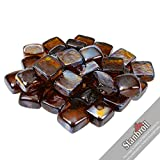 Stanbroil 10-Pound 1-Inch Fire Glass Cubes for Fireplace Fire Pit, Amber Reflective