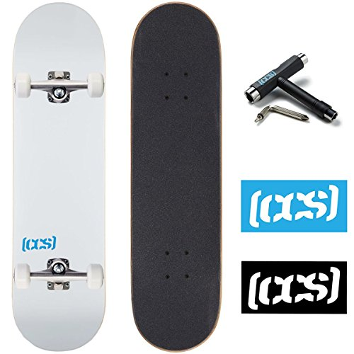 CCS Logo and Natural Wood Skateboard Completes - Fully Assembled (White, 8.0) (Logo 8.0 Skateboard Deck)