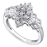 Diamond Cocktail Ring Solid 14k White Gold Band Fashion Round & Baguette Cluster Style Polished 1/4 ctw