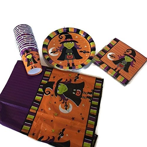 [Halloween Theme Spooky witch brew party supplies bundle for 14 people. The scary witch set includes: 18 paper plates, 14 paper cups, 18 Paper Napkins, Rectangle Plastic Table] (Scary Halloween Witches)
