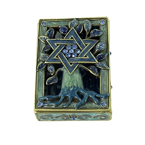 Antique Brass Tone Accents (Tree of Life Star of David Trinket Box)