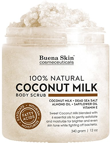 Almond Coconut Milk Scrub - Coconut Milk Body Scrub with 6 Essential Oils | Natural Deep Cleansing Exfoliator | Promoting Radiant Skin 12 oz By Buena Skin (Coconut Milk)