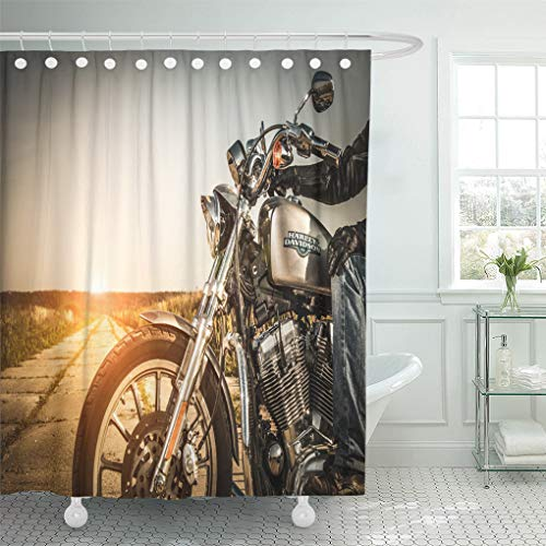 Semtomn Shower Curtain Russia July 7 Biker on Bike Harley Sportster Sustains Shower Curtains Sets with 12 Hooks 72 x 78 Inches Waterproof Polyester Fabric