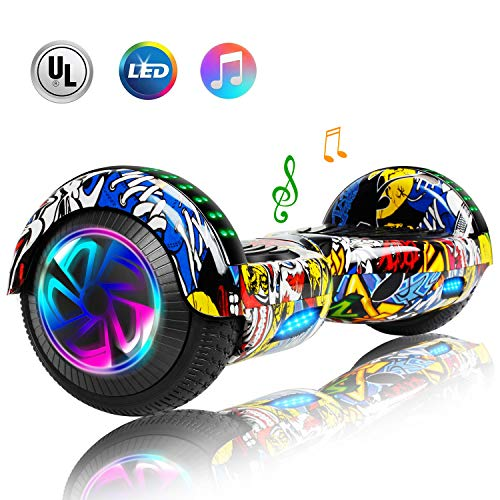 CBD 6.5″ Hoverboard for Kids, Two Wheels Self-Balancing Electric Scooter with Bluetooth and LED Lights,Smart Hover Board – UL2272 Certified (Ultimate Graffiti)