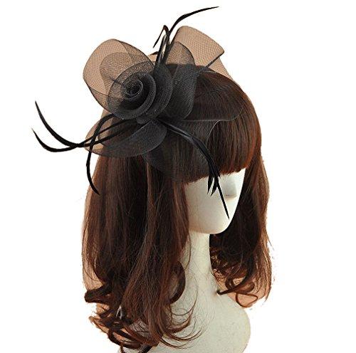 Women Fascinators Hair Clip Headband Hat Veil Flower Derby Cocktail Tea Party Church Headwear (Black)