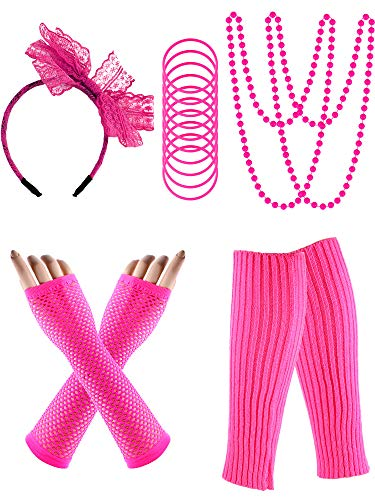 80s Costume Accessories Set, include Fishnet Gloves, Knit Leg Warmer, Bracelets, Lace Hair Band, Necklace for Women 80s Party (Rose Red)]()