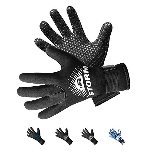BPS 5mm Dive Gloves - Thermal Diving Gloves Surfing, Water Sports Adjustable Strap Glued and Stitched Seams Textured Palm Grip Comfort Protection Antislip Wetsuit - Wetsuit - X Small (Black) ()