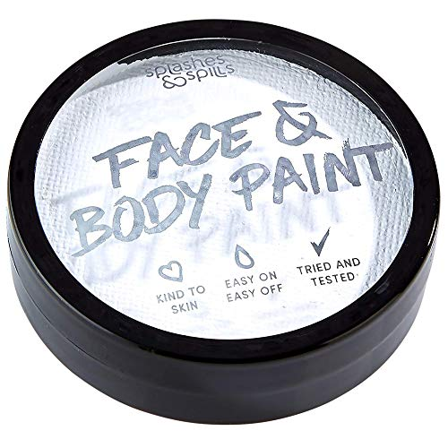 Water Activated Face and Body Paint – White, 18g Cake Tub – Pretend Costume and Dress Up Makeup by Splashes & Spills