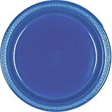 navy plastic ware - Reusable Party Round Dinner Plates Tableware, 20 Pieces, Made from Plastic, Blue, 10 1/4