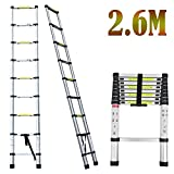 2018 NEW Design DIY Multi-Purpose Aluminium Telescopic Ladder Portable Foldable Ladder Extension Extend Ladder (2.6M)
