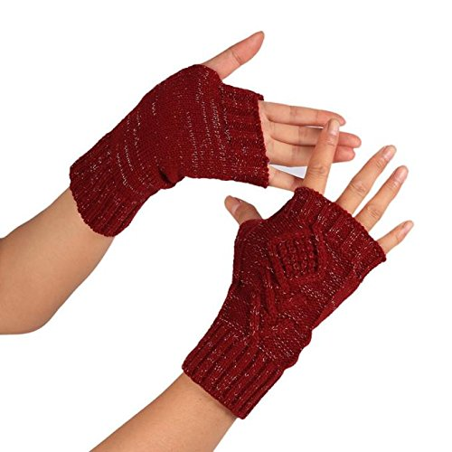 PASATO Knitted Arm Fingerless Winter Gloves Soft Warm Mitten Half Fingerless Thumb Hole Warm Gloves Mittens for Women(Red,Free Size)