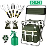 evokem Garden Tools Kit, 10 Piece Vegetable Herb Gardening Tool Set, Foldable Stool with Backrest and Zippered Detachable Tote, 5 Gardening Hand Tools, Gloves, Sprayer, 50M Plant Ties (US STOCK)