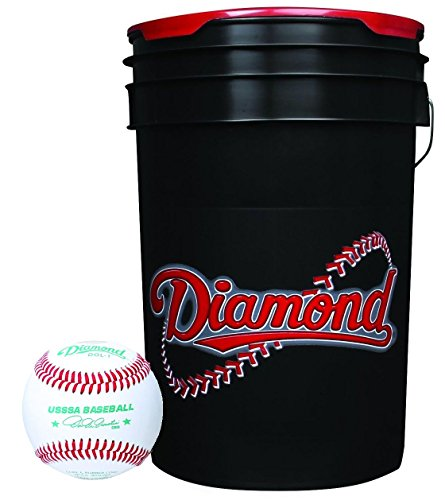 Diamond 6-Gallon Ball Bucket with 30 USSSA DOL-1 Baseballs by Diamond Sports