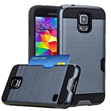 Jwest Samsung Galaxy S5 / S5 Neo Wallet Case with ID Card Slot Holder Rugged Rubber Heavy Duty Shock Absorbent Armor Hybrid Defender Shock Proof Case Cover Skin for for Galaxy S5/S5 Neo - Navy Blue