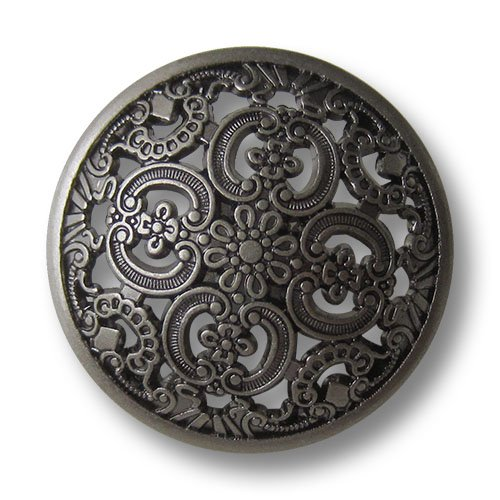 (5637as) – 8er Set Umwerfend schöne Metallknöpfe mit filigranem Durchbruchmuster, leicht gewölbt, altsilber (geschwärzt) / Durchmesser: ca. 15mm leicht gewölbt Knopfparadies